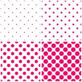 Pink polka dots on white vector tile background set — Stock Vector