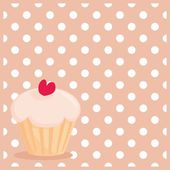 Cherry vector cupcake on white polka dots pink background — Stock Vector