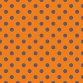 Tile vector pattern with grey blue polka dots on orange background — Stock Vector