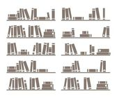 Books on shelf vector illustration isolated on white background — Stock Vector