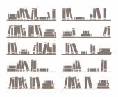 Books on shelf vector illustration isolated on white background — Stock Vector