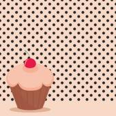 Cherry cupcake on black polka dots pink background vector illustration — Stock Vector