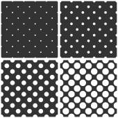 Seamless black and white vector pattern or tile background set with big and small polka dots. — Stock Vector