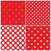 Tile vector pattern set with white polka dots and hearts on red background — Stock Vector