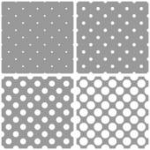 Tile white and grey vector pattern or background set with big and small polka dots. — Vetorial Stock