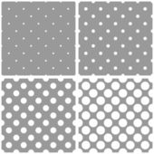 Tile white and grey vector pattern or background set with big and small polka dots. — Stock Vector