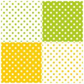Tile vector pattern set with polka dots on white, green and yellow background — Stock Vector