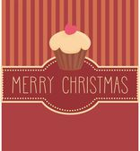 Holidays vector card with sweet cupcake and hand drawn Merry Christmas wishes — Stock Vector