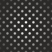 Tile dark vector pattern with gradient white and grey polka dots on black background — Vecteur