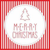 Holidays vector card with christmas tree and hand drawn Merry Christmas wishes — Stock vektor