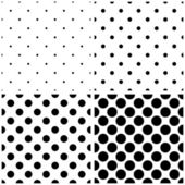Seamless black and white vector pattern or background set with big and small polka dots. — Stock Vector
