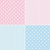 Tile vector pattern set with white polka dots and strips on pink and blue background — Stock Vector