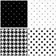 Seamless black and white vector pattern or tile background set with polka dots and houndstooth print — Stock Vector #62773503
