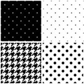 Seamless black and white vector pattern or tile background set with polka dots and houndstooth print — Stock Vector