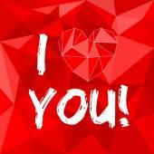 ベクトル バレンタインや母、私はあなたを愛し包装表面の背景赤に心日カード — ストックベクタ