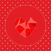 Valentines vector card with triangle heart and white polka dots on red background — Stockvector