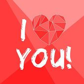 I love you valentines vector card with heart on red background — Stock vektor