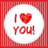I love you vector card with red and white stripes background — Stock vektor