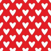 Tile cute vector pattern with white hearts on red background — 图库矢量图片