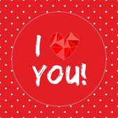 I love you vector card with heart and white polka dots on red background — Stock vektor