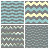 Tile chevron vector pattern set with grey, blue and yellow zig zag background — Stock Vector
