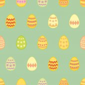 Tile vector pattern with colorful easter eggs on green background — Stock Vector