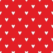 Tile cute vector pattern with white hearts on red background — Stock Vector