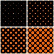 Orange polka dots on black vector tile background set — Stock Vector #68598681