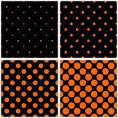 Orange polka dots on black vector tile background set — Stock Vector