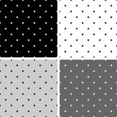 Seamless black, white and grey vector pattern or background set with big and small polka dots — Stock Vector