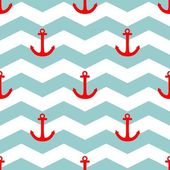 Tile sailor vector pattern with red anchor on white and blue stripes background — Stockvektor