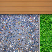 Timber, grass and aggregate details — Stock Photo