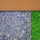 Timber, grass and aggregate details — Stockfoto