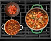 Cooked Food on a Gas Stove — Stock Photo