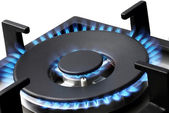 Blue Flames of a Gas Stove — Stock Photo