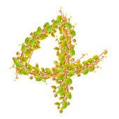 Número 4, alfabeto de hojas verdes — Foto de Stock