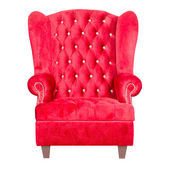 Red leather armchair isolated on white. — Stock Photo