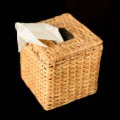 Wood tissue box isolated on black background — Stock Photo