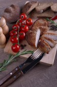 Meat pork with bread and tomato — Stock Photo