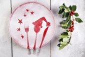 Christmas red plate — Foto de Stock