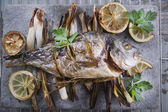 Sea bream baked in the oven — Stock Photo