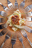 Pappardelle with meat sauce — Stock Photo