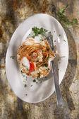 Spaghetti con capesante — Foto Stock