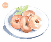 Watercolor donuts on plate — Stock Vector