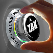 Concept of a button adjusting and optimizing tax amount. — Stock Photo