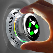 Concept of a button adjusting and maximizing the recycling. — Stock Photo