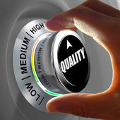 Hand rotating a button and selecting the level of quality. — Stock Photo