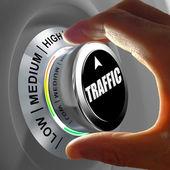 Hand een knop roteren en selecteren van de hoeveelheid verkeer. — Stockfoto