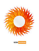 Circle orange flower vector card. — Stock Vector