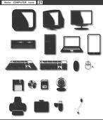 Vector set web icons. retro monitor retro computer — Vector de stock